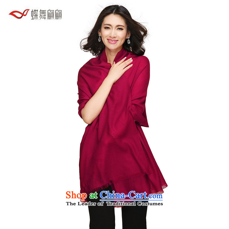 The Butterfly Dance Medley 2015 new encrypted solid color woolen scarf girl of autumn and winter warm dark red shawl