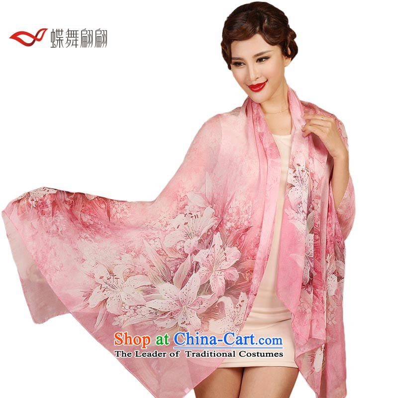 The Butterfly Dance medley of silk scarves, Autumn herbs extract scarf wild lilies dream shawl - Pink