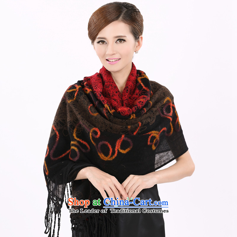 Shanghai Story Ms. wooler scarf winter high plain thick wool shawl embroidered warm 19Black