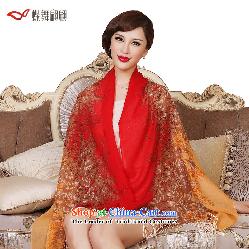The Butterfly Dance Medley Huakai Fugui wooler scarf female autumn warm shawl Huakai Fugui Red yellow