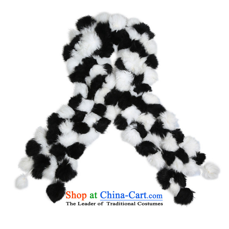 In accordance with the rabbit hair ornaments Gil ball scarf of autumn and winter, soft fur a fourth volleyball-long fur rabbit woolen shawl female black and white scarf