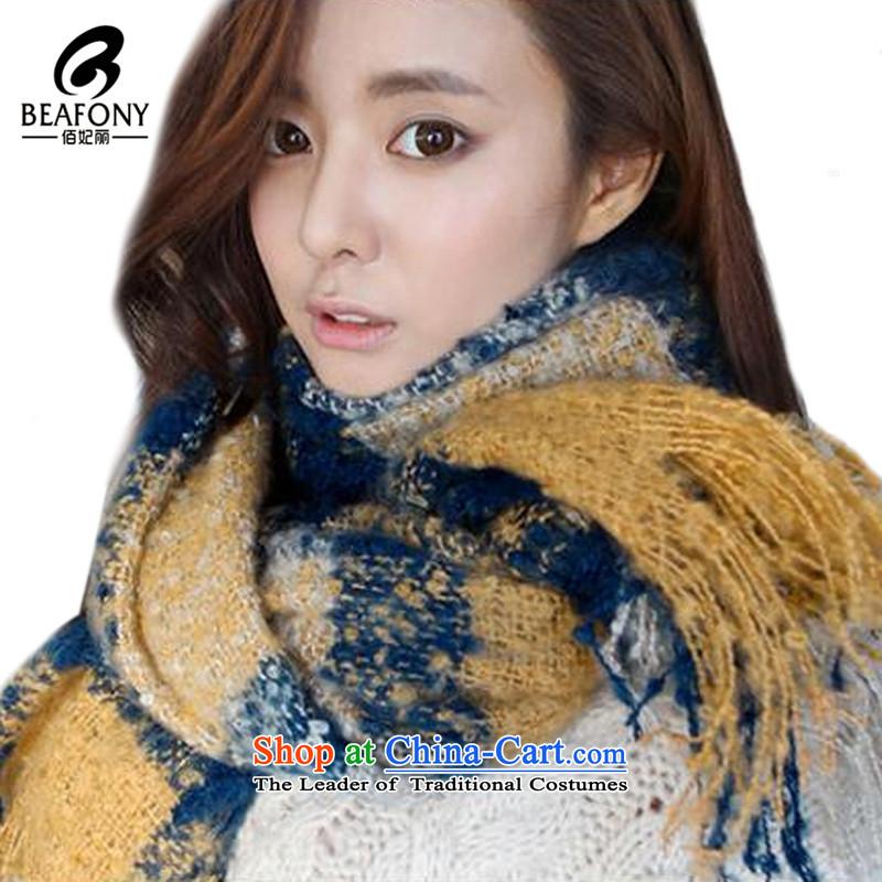 Bai Fei Li Korean fashion Plaid Mohair Ms. long warm scarf聽HM016聽see commodity properties yellow