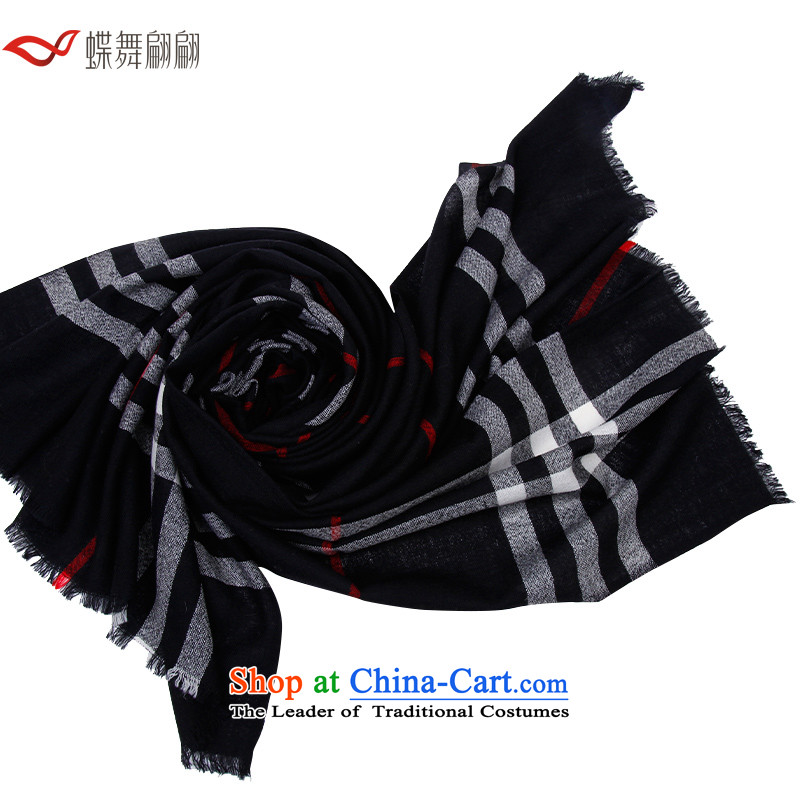 The Butterfly Dance Medley Classic Grid Ms. wooler scarf plaid shawl black