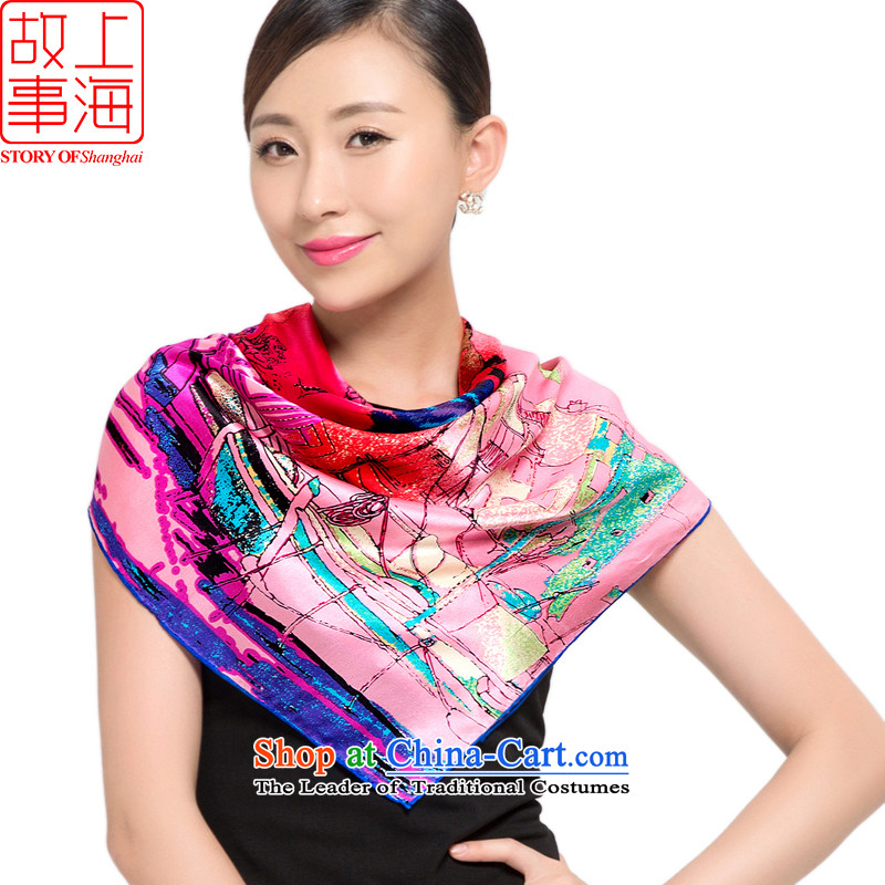 Shanghai Story sunscreen silk scarf beach towels, new 100% herbs extract stamp satin silk scarf 158031 and classy puppet Paris in red