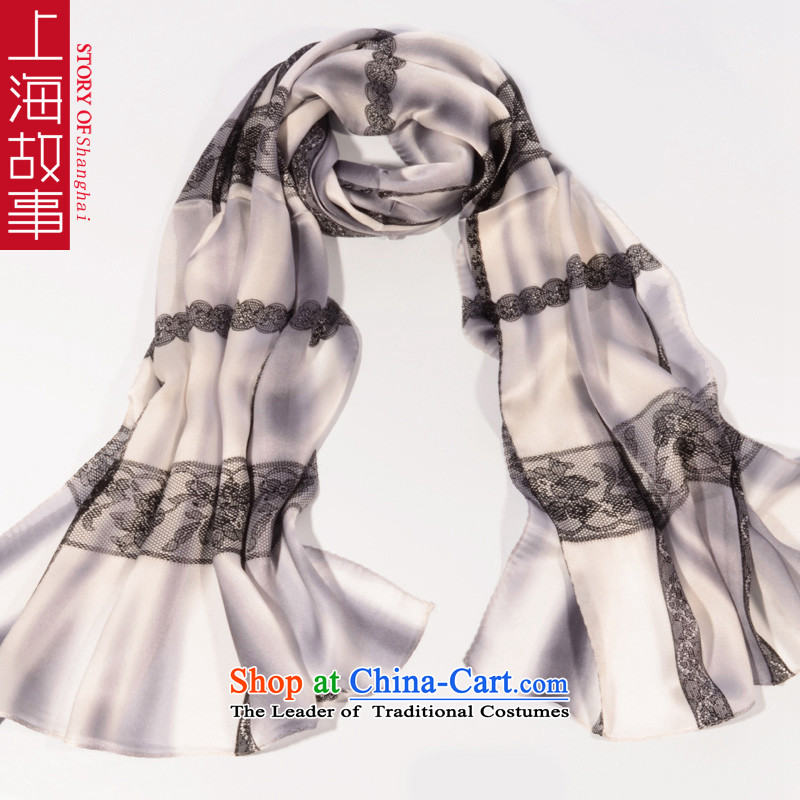 Shanghai Story high herbs extract silk scarves women Fancy Scarf use two autumn and winter female lace pale