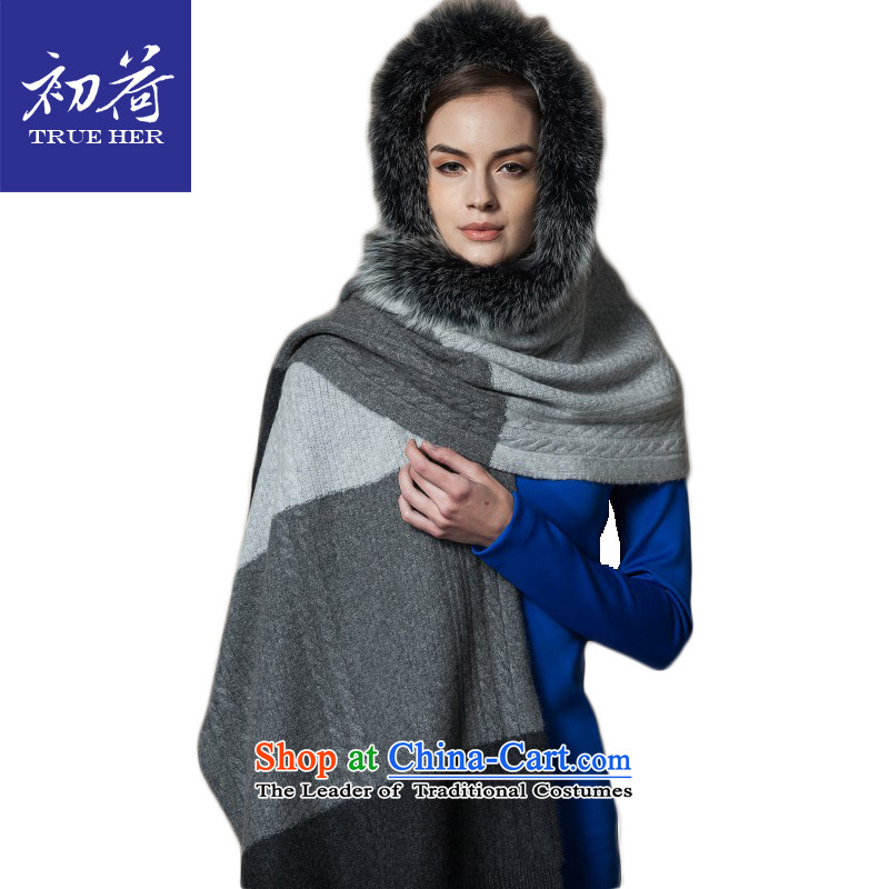I should be grateful if you would arrange early scarf female cashmere knitting fox gross shawl manually, a fox gross for uniformed series gradient Gray + Fox gross