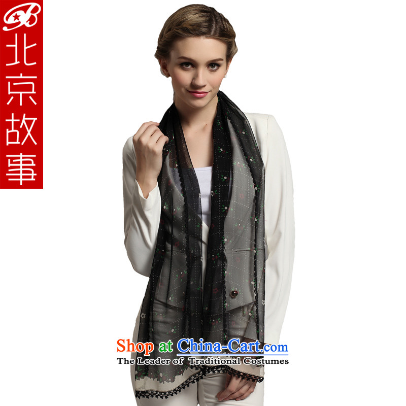 Beijing Ms. story herbs extract scarf silk scarves leisure wild girls black stamp shawl black