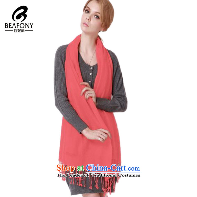 Bai Fei Li dongqiu Ms. wool edging scarf pure color wild, Indian shawls L005 watermelon red see commodity Properties