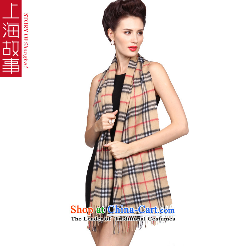 Shanghai Story Classic Grid lamb wool woolen cravat shawl autumn and winter warm small segments of the scarf and small wire
