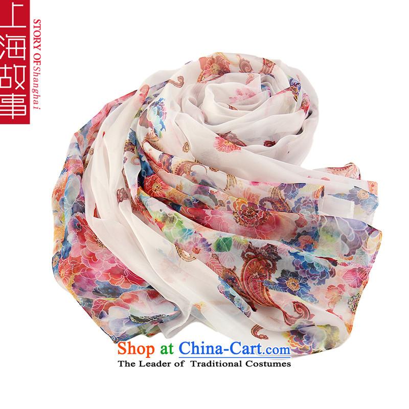 Shanghai Story Emulation Ms. silk scarf chiffon scarf long shoulder beach masks in Les Belles White