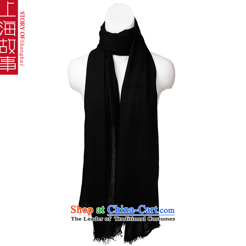 Shanghai Story pure color emulation Ms. pashmina autumn and winter long two shawls with black