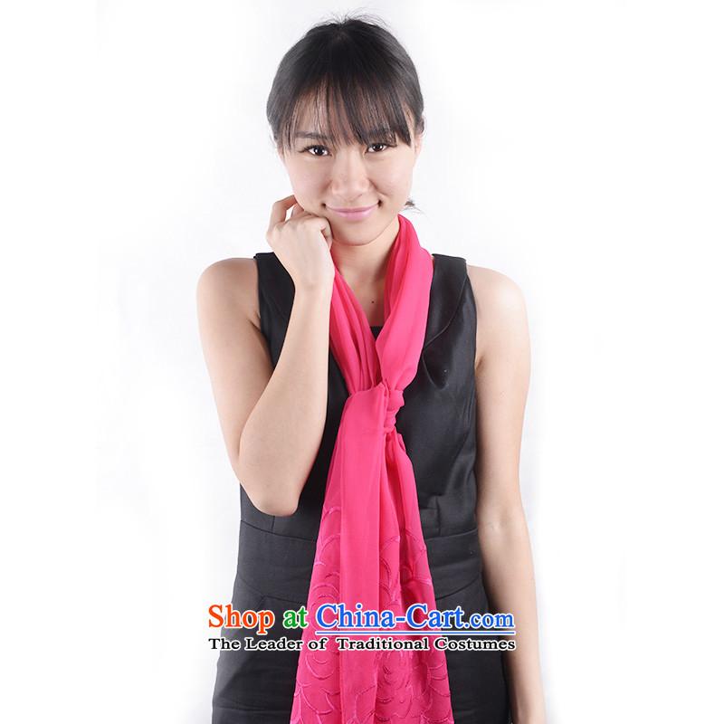 Kangaroo Island of greater Mudan herbs extract silk scarf embroidered genuine long Korean female scarfFYS0008B Ms. red) 175cm*52cm