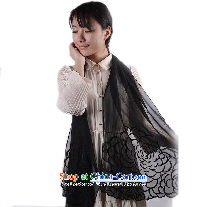 Kangaroo Island of greater Mudan herbs extract silk scarf embroidered genuine long silk scarfFYS0008C Korea Yeojin Ms. 175*52cm, Black