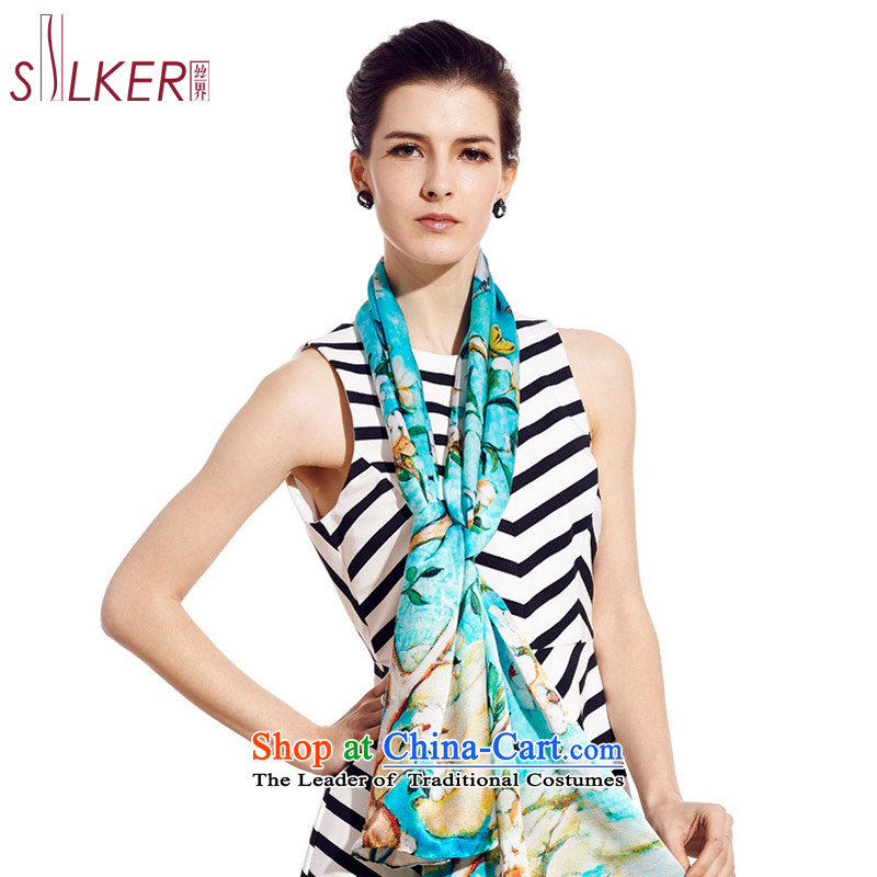 The population in the spring and autumn 100 herbs extract fourth quarter wild, Ms. silk scarves digital inkjet upscale Indian shawls-Wu Tianxiang Blue