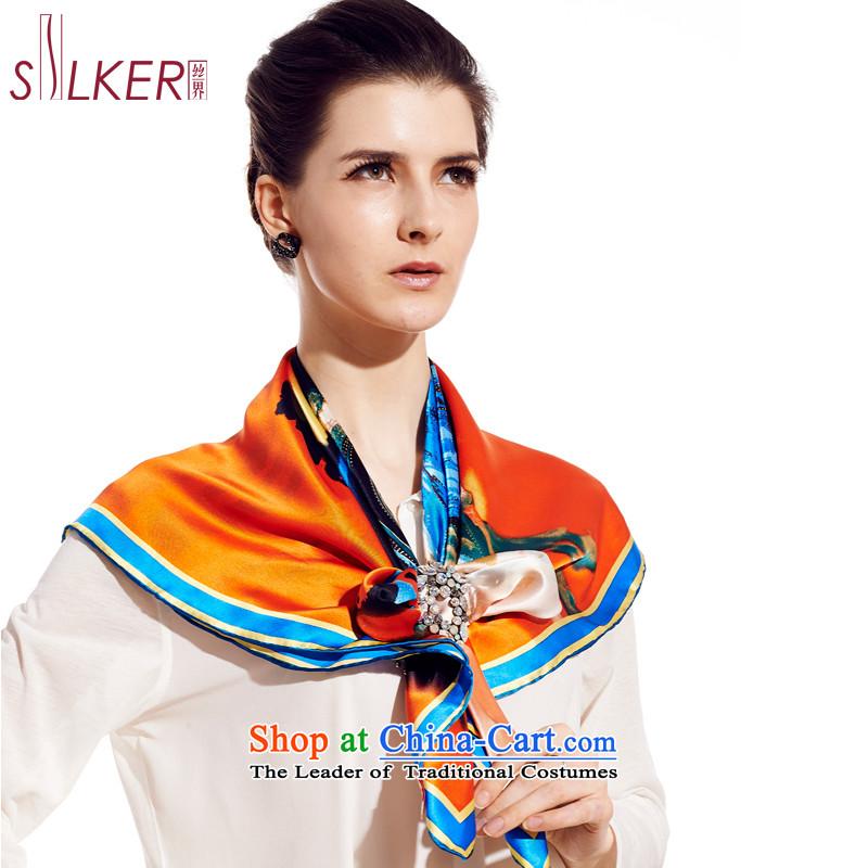 Sigi's silk scarf silk scarf President Dos Santos silk silk gift and classy towel urban Qi Yuan Blue