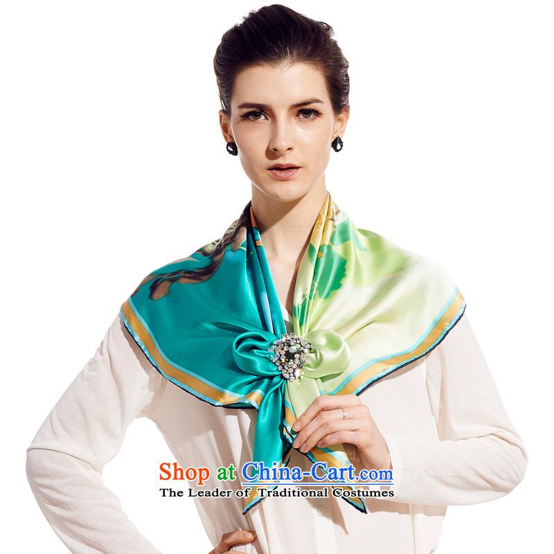 Sigi's silk scarf silk scarf President Dos Santos silk silk gift and classy towel urban Qi Yuan Wu Blue
