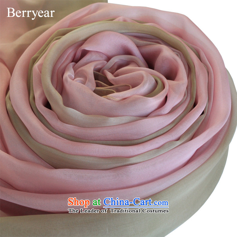 Berryear smoke pink gradient upscale silk scarfs female spring and autumn wild herbs extract long silk scarf shawl 200*130CM