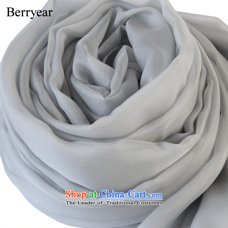Europe and the temperament light gray berryear upscale silk scarves female spring and autumn wild herbs extract Pure Color Light Gray 250*130CM scarf