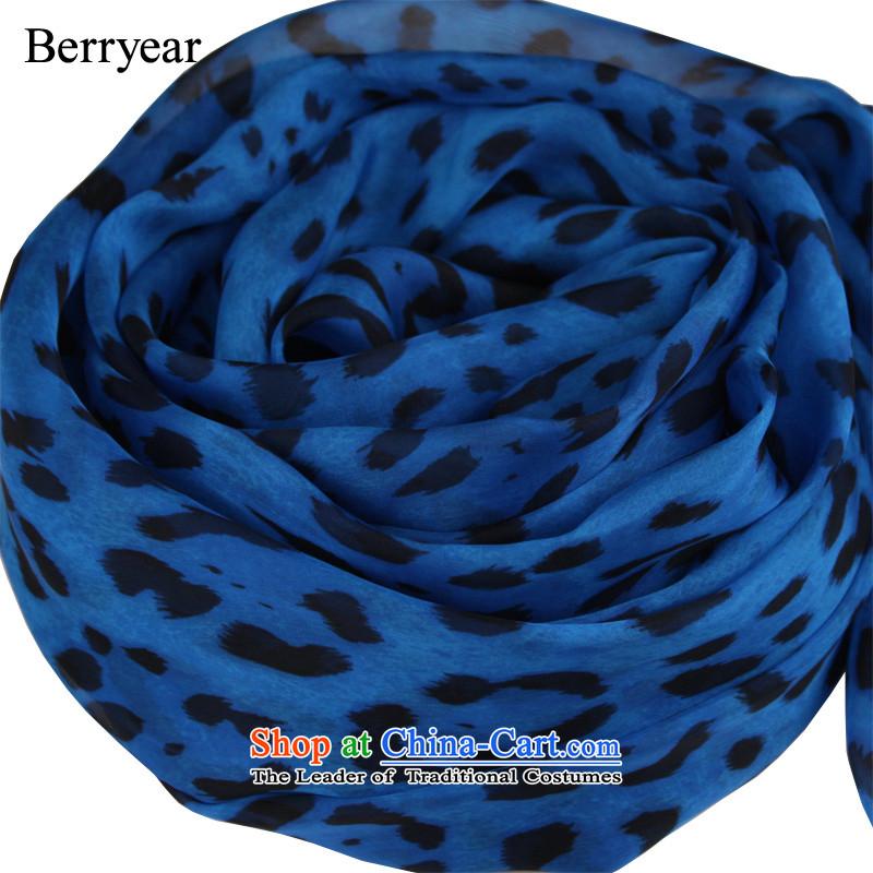 聽Europe and the explosion of blue berryear leopard silk scarves spring and autumn female long sauna silk scarves shawl leopard 200_65CM standard