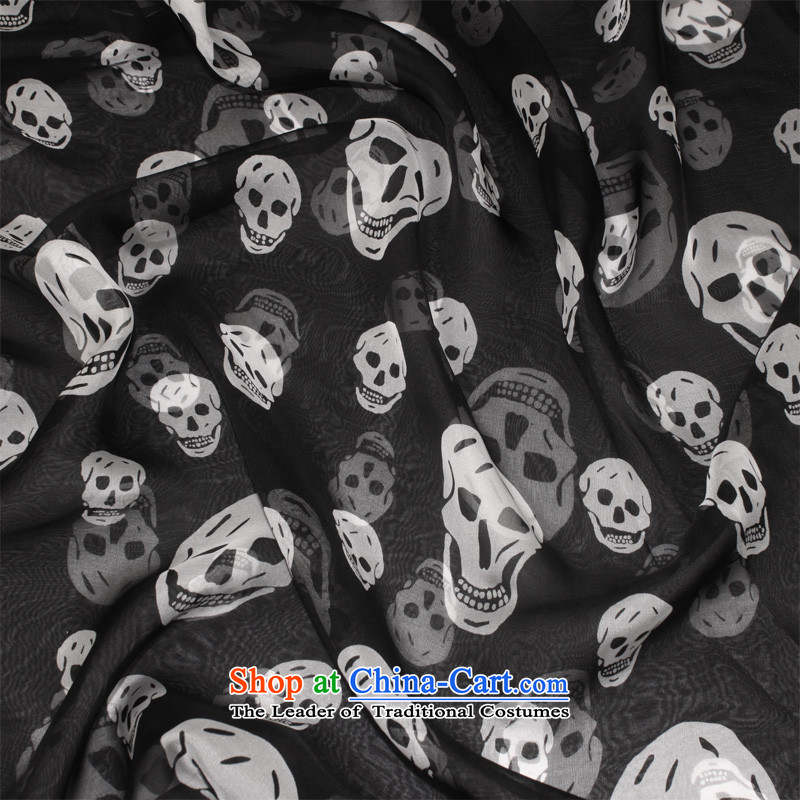 Europe and the black large berryear skull silk scarf upscale