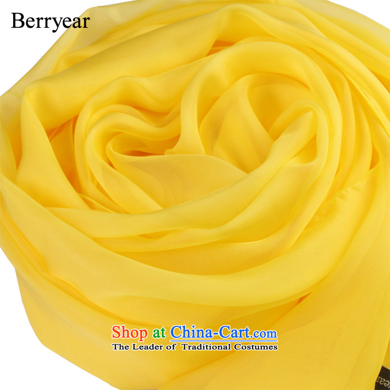 Berryear yellow silk scarf solid color silk scarves long wild herbs extract scarf girls high during the spring and autumn shawl yellow 200*65CM standard