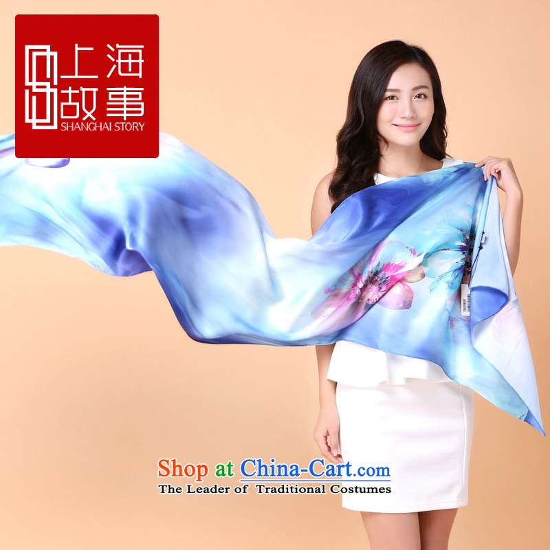 Shanghai Story Ms. long herbs extract scarf summer sunscreen silk scarf shawl content from the flowers in a mirror Geometry - Blue