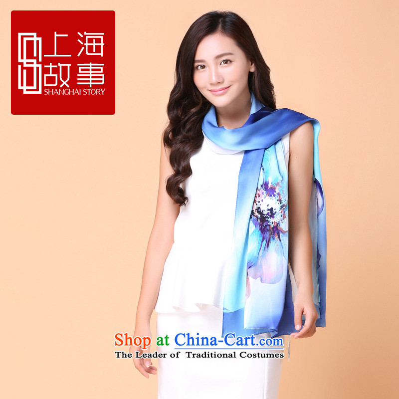Shanghai Story Ms. long herbs extract scarf summer sunscreen silk scarf shawl content from the flowers in a mirror Geometry - Blue, Shanghai Story STORY IN SHANGHAI) , , , shopping on the Internet