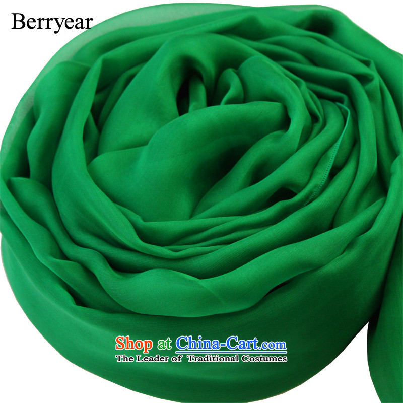 The spring and autumn female Korean berryear high pure color silk scarves gemstone green long herbs extract Fancy Scarf gemstones 250*130CM green