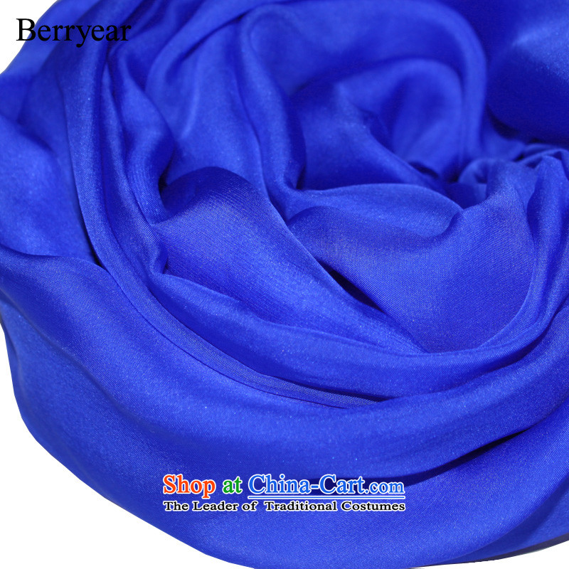 Noble blue berryear silk scarves female spring and autumn long herbs extract scarves solid color silk scarf shawl200*130CM Royal Blue