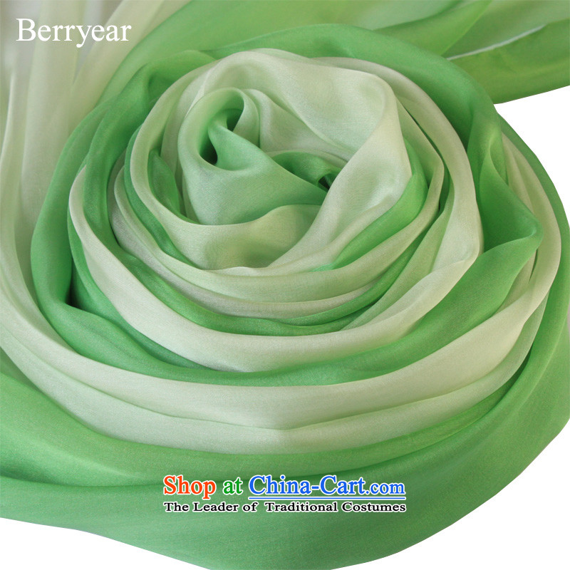Berryear genuine wild green gradient silk scarves spring and autumn female long herbs extract sunscreen shawl200*130CM scarf