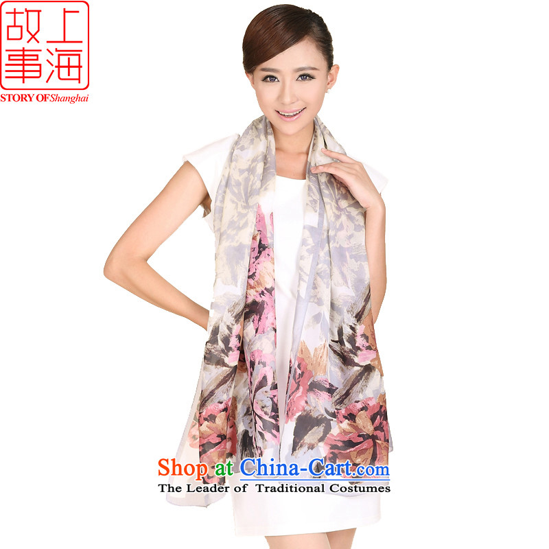 Shanghai Story sunscreen silk scarf beach towels, spring and autumn new herbs extract twill wild leisure scarf shawl 158018 Long Gray Pink