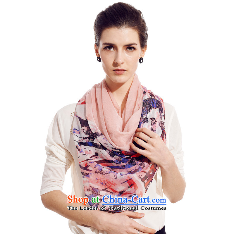 Sigi's large population long herbs extract silk shawls Ms. long silk scarf scarf poetic Shanshui Pink