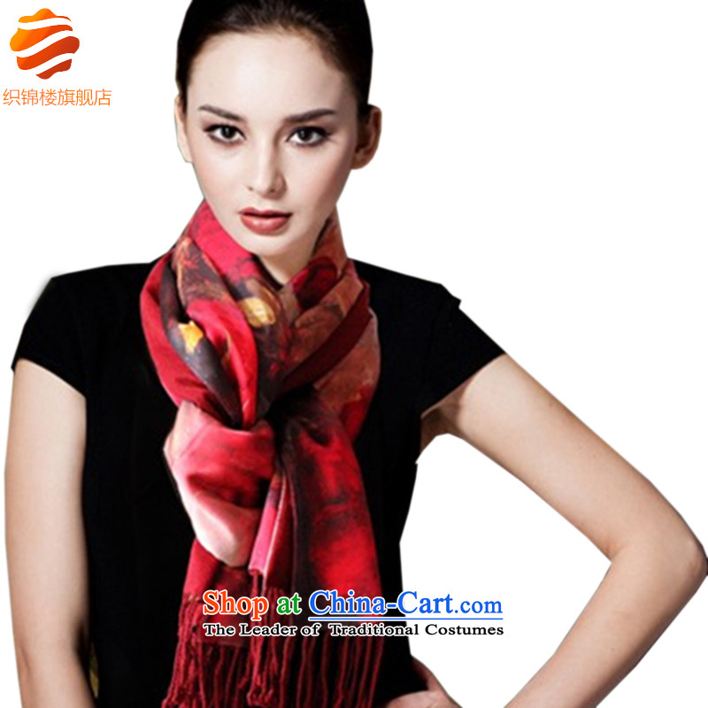 Tapestries floor flagship store in spring and autumn silk brushed double-decker Big shawl scarf Women's Sauna silk scarves redder rose