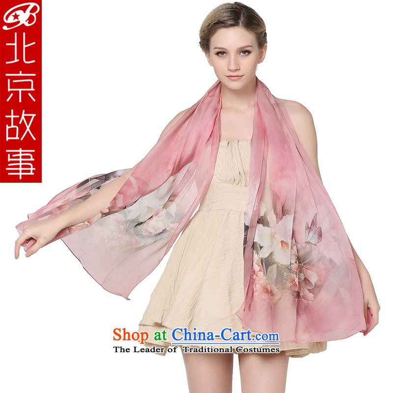Beijing Ms. story silk scarf herbs extract Fancy Scarf female ethnic silk scarves silk scarf female flowers in spring and autumn, rain butterfly