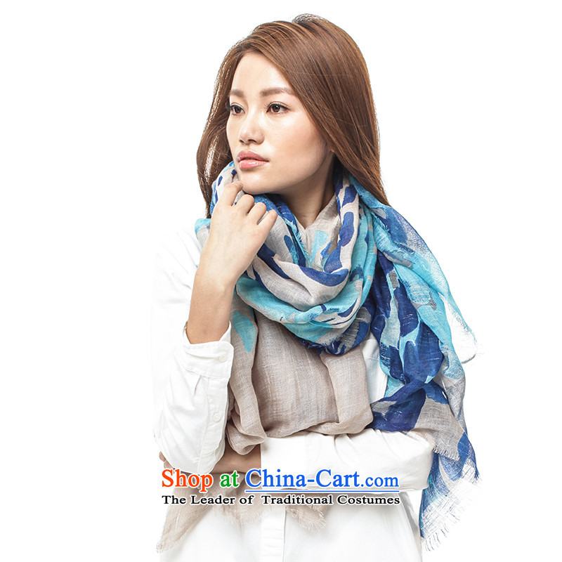 Ms. for autumn and winter shawl scarf two long_ natural linen towels聽14FC105 long聽blue