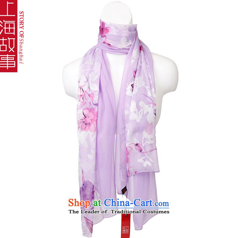 Shanghai Story emulation silk scarves Ms. Chiffon Fancy Scarf masks in2# purple-