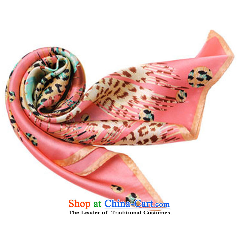Also left herbs extract silk scarf silk scarf butterfly patterns of the Jurchen people vocational small square cloths Leopard Pink