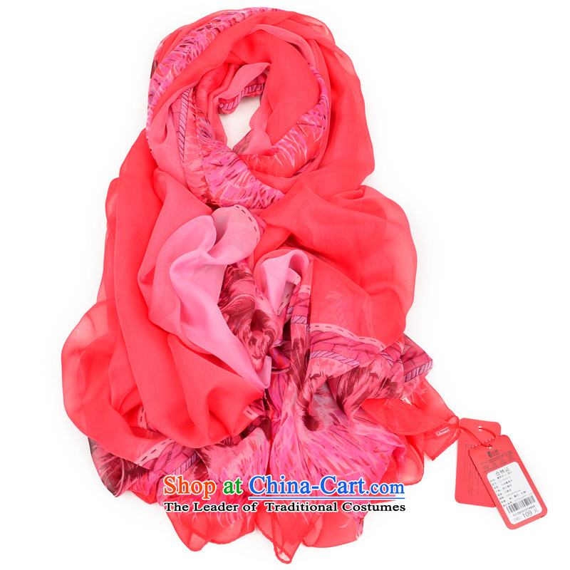 The population of the new ultra large Ms. long stylish silk scarf scarf of dust in the Red First Lady