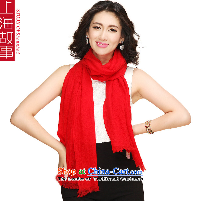 Shanghai Story pure color Cashmere scarf, autumn and winter shawl a large red