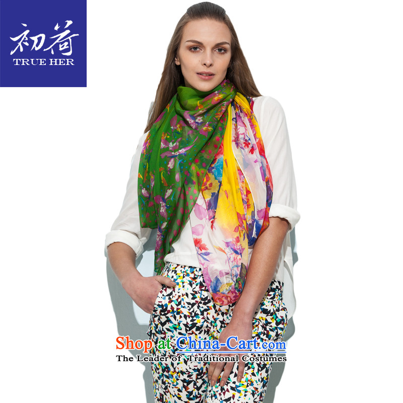 I should be grateful if you would have the beginning of the new summer Ms. silk scarf silk scarfs herbs extract the two-sided printing sunshade sunscreen shawl colorful Series No. 1 emerald green colors)