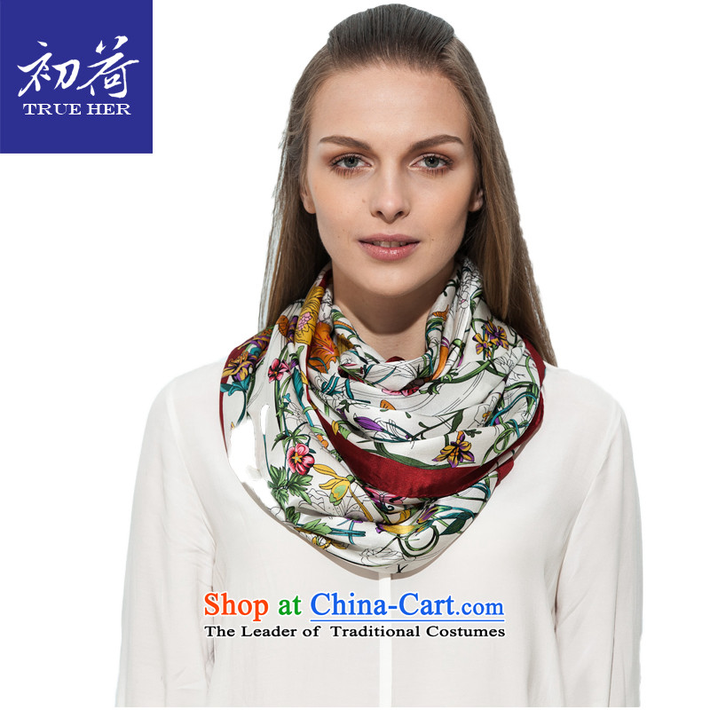 I should be grateful if you would arrange early Ms. silk scarf sunscreen shawl herbs extract gift silk scarf digital printing thick long towel Flower Series Red Trim