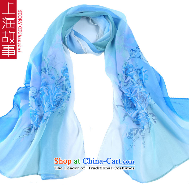 Shanghai story before the next Silk herbs extract long towel Fancy Scarf use two large sunscreen scarves shawl romantic light blue