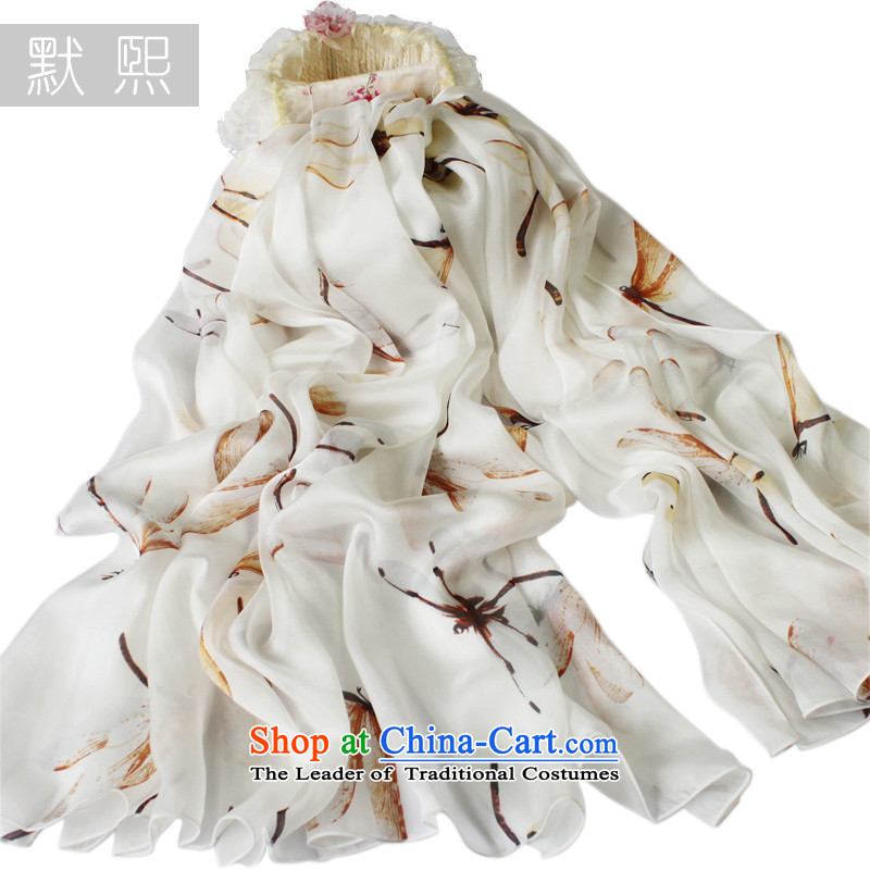 The default-hee New Pure Herbs extract silk scarves temperament wild female stamp silk scarf scarf spring and autumn large shawl water dragonfly 200x130cm