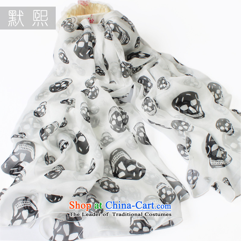 The default-hee silk scarves herbs extract long scarf female extra large spring and autumn shawl white skull 200x65cm