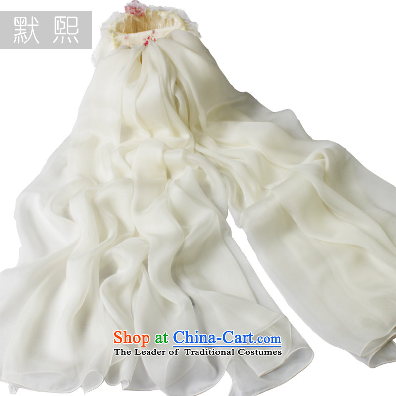 The default is 100% pure color-hee Ms. herbs extract Fancy Scarf leisure wild cream colored silk scarves spring and autumn cream white silk scarves250x65cm