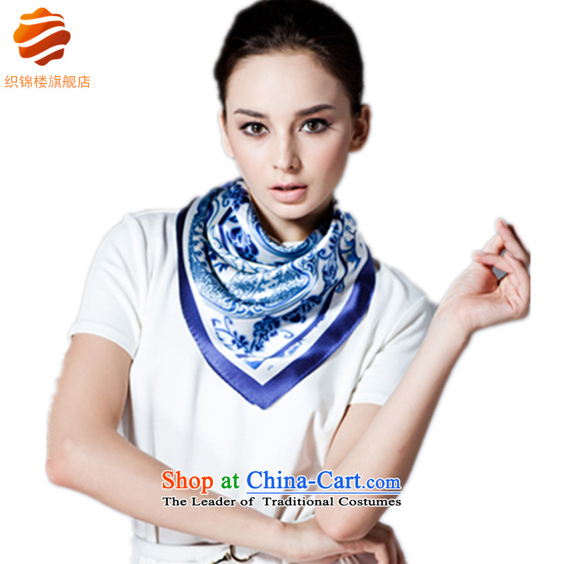 Tapestries floor China wind porcelain silk scarf silk scarf and classy women with blue scarf