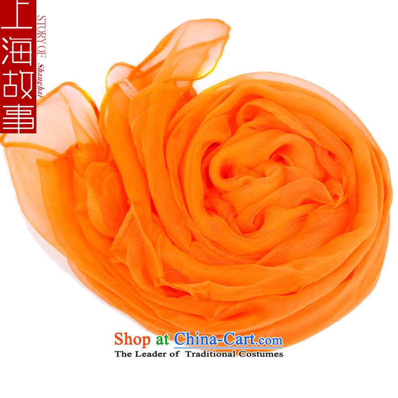 Shanghai Story mixed filature silk scarf Ms. herbs extract solid color scarf air-conditioning shawl sunscreen yarn orange