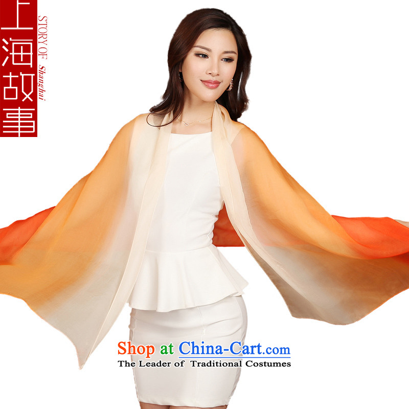Shanghai Story silk scarves Ms. herbs extract scarf shawl sunscreen masks in air-conditioned multi-S orange gradient