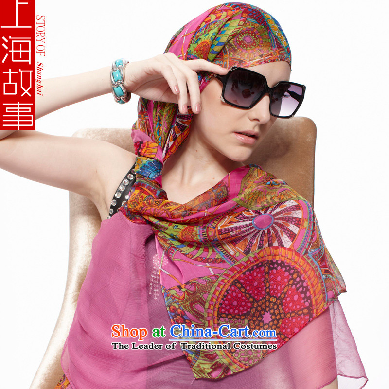 Shanghai Story silk scarves herbs extract scarf air-conditioning shawl sunscreen Ms. long SQXL masks in poetic Emma in red