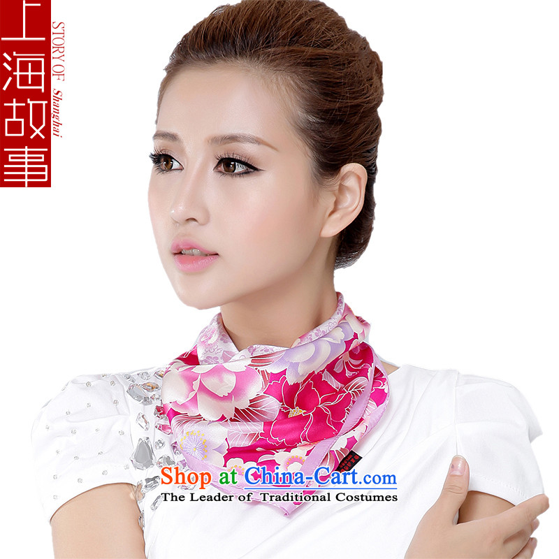 Shanghai Story sauna silk scarves small square cloths vocational silk scarf pink edge of Ms.
